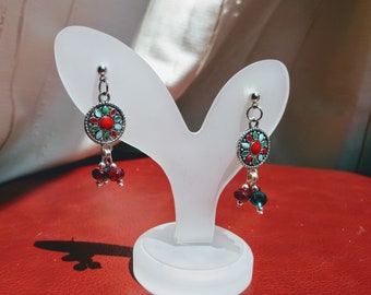 Red and Teal Boho Earrings