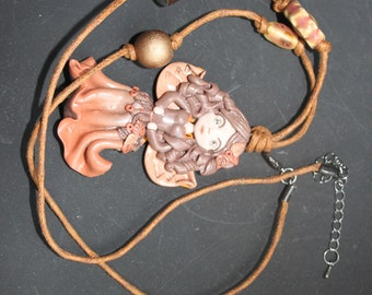 Asymmetrical long necklace and her fairy polymer clay autumn leaves