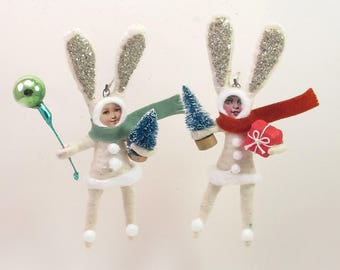 READY TO SHIP Vintage Inspired Spun Cotton Single Bundled Up Bunny Child Ornament