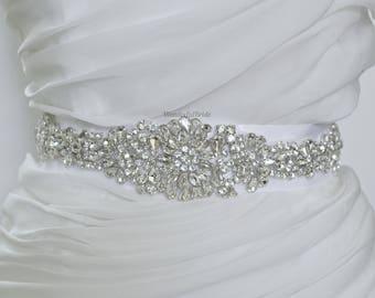 Vintage Wedding Sash, Belt , Bridal Sash,Rhinestone Sash, Satin Wedding Sash, wedding, sash, bridal, rhinestone, wedding belt, bridal belt