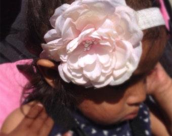 Peach Color Silk Flower Headband,  Girl Headband, Baby Girl Headband, Infant Girl Headband, Newborn Girl Headband, Wedding