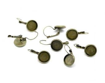 20 Bronze 12mm Cabochon Stud Earrings