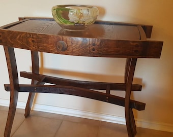 Wine Barrel Entry Table Solid Oak Console table