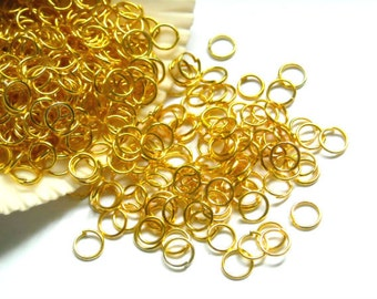 50/100 Gold Plated Jump Rings 4mm, Open Loop - 8-2