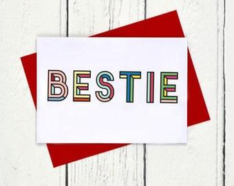 Bestie Colourful Typographic Card - Bestie Card - Best Friends Card - Best Friends Forever - Friendship Card - Friend Card - Besties