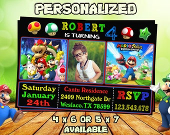 Super Mario Invitationsuper Mario Birthday Invitationsuper