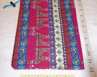 Colorful Aztec Llamas Handmade Drawstring Bag