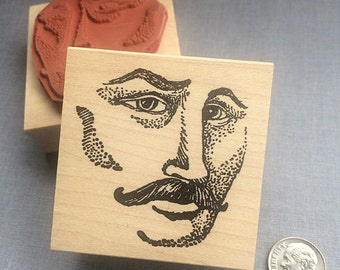 Male Face Rubber Stamp