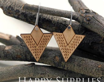 2pcs / 1 Pairs (HEW12) Laser Cut Wooden Dangle Earrings - HEW Series