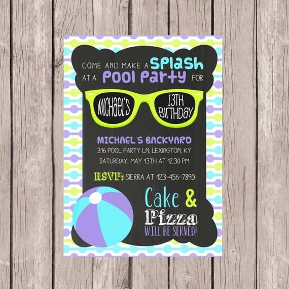 PRINTABLE Pool Party invitation Birthday pool party invite