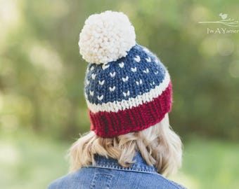 Fourth of July Hat, Pom Pom Hat, July 4th Beanie, Independence Day Outfit, American Flag Hat, Chunky Knit Hat, Ski Hat, Toddler Pom Pom Hat