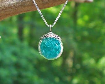 Recycled Reclaimed Vintage Aquamarine Mason Jar and Sterling Silver Orb Necklace