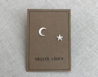 Tiny Crescent Moon and Star Stud Earrings. Mix Matched Earring Set. Sterling Silver Posts. Boho Earring Studs. Gift Under 15. Minimalist