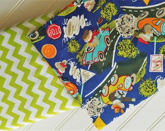 Riley-Blake-Designs-Lime-Small-Chevron-Timeless-Treasure-Cars-Mouse-On-The-Move-Cotton-Fabric-By-The-Yard-Bundle-Options