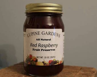 Raspberry Preserves. 20 oz. Jar. COMBINED SHIPPING RATES.