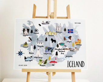 Iceland Illustrated Map - A4 Print - Watercolour Map - Map of Iceland - Icelandic Map - Illustrated Iceland Map - Iceland Gift - Nordic Map