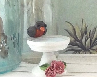 Mini Robin Figurine Backyard Bird Ornament Paper Quilling Handmade Mothers Day gift Lake House decor