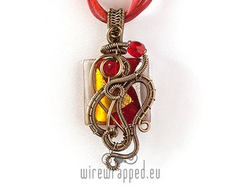 Red wire wrapped pendant one of a kind OOAK