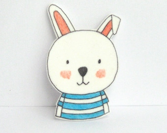 Rabbit Brooch with striped T-shirt. Rabbit Pin