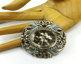 Art Deco Brooch Silver Filigree Blue Enamel Glass  Flowers Floral Jewelry Flower Brooch HUGE 1930s Art Deco Jewelry