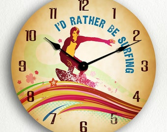 I'd Rather Be Surfing Surfer Silent Wall Clock