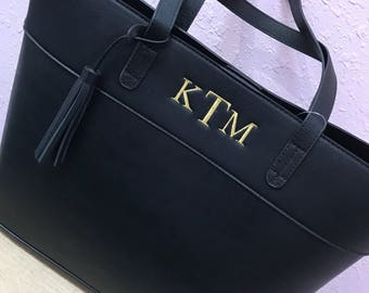 Monogrammed Vegan Leather Tote
