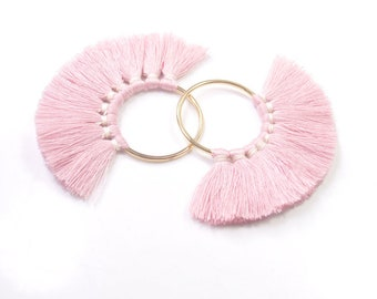 1 pair(2pcs) Fan tassel, tassel earring or pendant,antique pink Cotton tassels in gold color round brass ring,5cm-GD129#