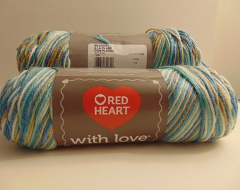 Beachy - Red Heart With Love worsted weight variegated 100% acrylic yarn - 3003