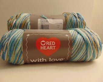 Beachy - rotes Herz mit Liebe Kammgarn Gewicht bunt 100 % Acryl Garn - 3003