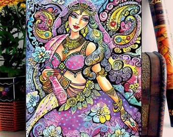 India Goddess Fantasy Fairy Romantic Bollywood Costume Jewelry Indian woman painting, home decor wall decor woman art, ACEO wood block, ABDG
