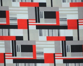Sale! Rectangles in Red by Cloud 9, Organic Cotton,  1 yard