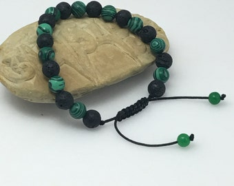 Handmade  Lava and Malachite Wrist Mala Bracelet for Meditation