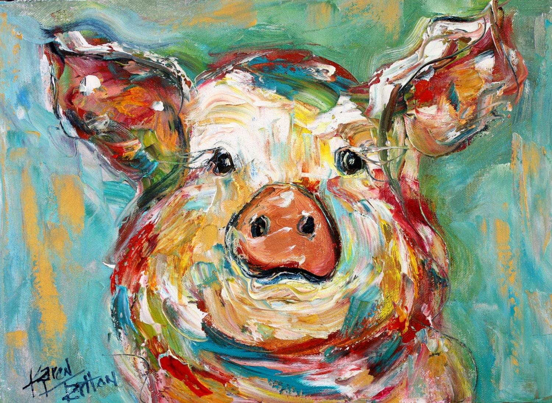 Karen Tarlton Pig Oil Painting