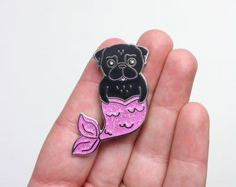 Black Pug Pin | Mermaid Pug Pin | Glitter Brooch | Pug Gift | Black Pugs Gifts | Gift for Pug Lover | Valentines Gift | Nais Products