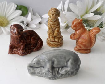Vintage WADE WHIMSIES ~ Circus Tiger, Mole, Red Squirrel, Otter ~ Set of 4