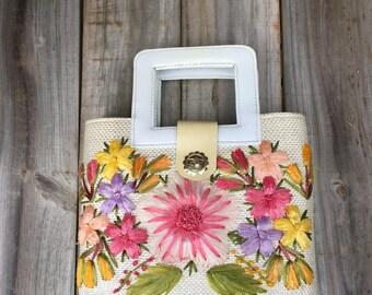 Vintage 70's boho hippie straw bag, tote, handbag, hand woven straw purse, hipster bag