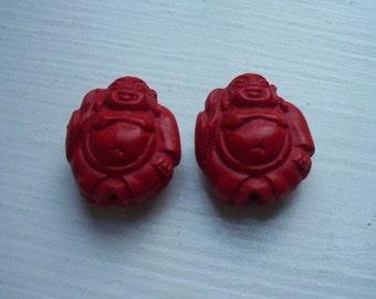 Pair Red Cinnabar Buddha Beads