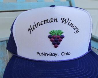 Vintage trucker hat, Heineman Winery, Put-in-Bay, Ohio, vintage snapback trucker hat