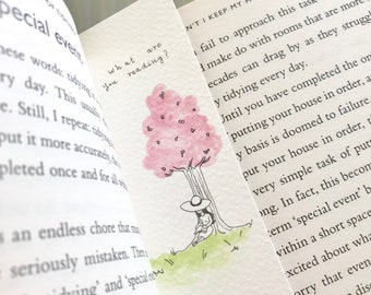 Hand painted bookmark watercolour cherry blossom trees