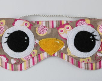 Eye mask  Slumber mask  Sleep mask Sleep blindfold eye  Shade blindfold eyes Glamour travel mask Mask for Sleeping Owl Owl mask For a party