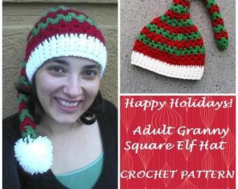 CROCHET PATTERN - Adult Granny Square Elf Hat - Christmas Hat Pattern, Elf Hat Pattern, Stocking Hat Pattern, Adult Hat Pattern, Instant