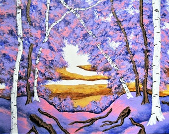 """The Birch Forest (Original Acrylic Painting) 8"""" x 10"""" by Mike Kraus - art tree aspen forest woods nature environment pink purple yellow ooak"""