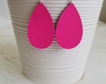Neon Pink Genuine Leather Teardrop Earrings Dangle Earrings