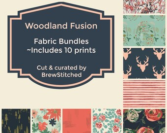 NEW Woodland Bundle - Forest Fabric Bundle - Woodland Fabric - Fabric by the yard - Fat Quarter Bundle - Art Gallery Fabric -Woodland Fusion