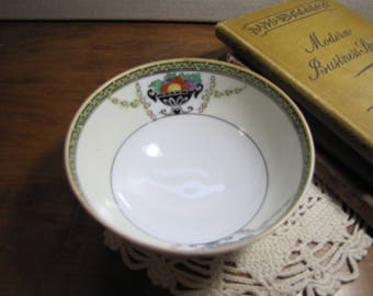 Small Noritake Porcelain Footed Bowl - Black Urn With Fruit - Gold Accent - Hand Painted - Made in Japan