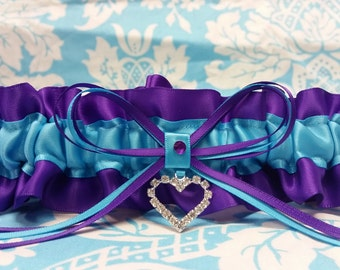 Regency and turquoise garter Wedding Garter SINGLE or SET, heart, crystal garter, regency purple garter, regency garter, regency