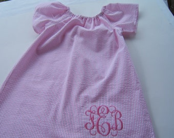 Girls Monogrammed Beach Dress, Pink Striped Seersucker Dress, Short Sleeve, 3month-8years, Toddler, Baby, Summer Vacation, Coming Home