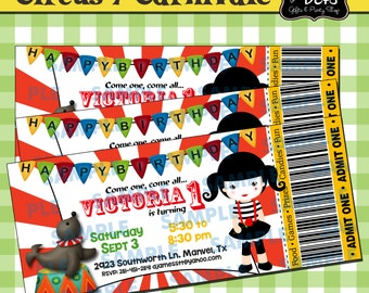 Ticket Circus Invitation-Circus-Circus Party-Carnival Party-Carnival Invitations-Carnival Party Invitations-Clown Invitations-Girl clown