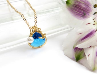 Bridesmaids Gift Blue Charm Necklace, Cobalt Sapphire Blue With Anchor And Pearl, Gift For Bridal Party