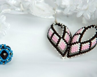 Cotton candy Beaded Leaf earrings | Sterling silver beaded earrings | Beadwoven Pink Black earrings | Gift for her